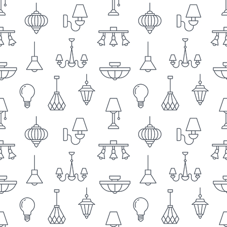 Light fixture, lamps seamless pattern, line illustration. Vector flat icons of home lighting equipment chandelier, bulb. Repeated background for interior store black and white.