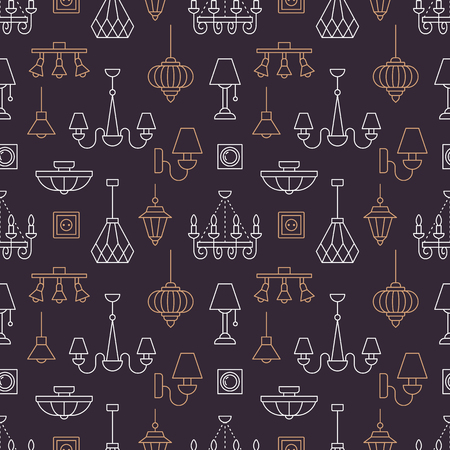 Light fixture, lamps seamless pattern, line illustration. Vector icons of home lighting equipment - chandelier, power socket. Repeated dark background for interior store.