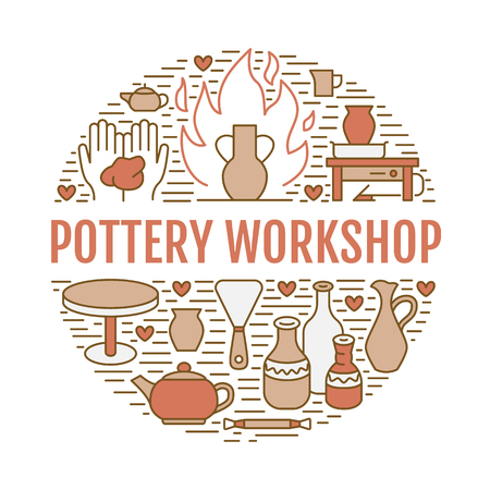 Pottery workshop, ceramics classes banner illustration. Vector line icon of clay studio tools. Hand building, sculpturing equipment. Art shop circle template with text. 免版税图像 - 91117983