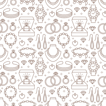Jewelry seamless pattern, line illustration. Vector flat icons of jewels accessories - gold engagement rings, diamond, pearl necklaces, charms, watches. Fashion store repeated background.