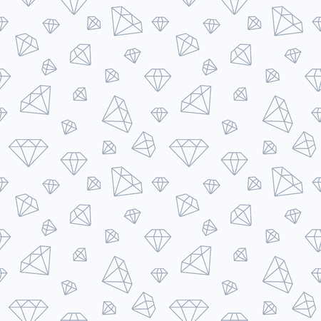 Jewelry seamless pattern, diamonds flat line illustration. Vector icons of brilliants. Fashion store white repeated background. Illustration