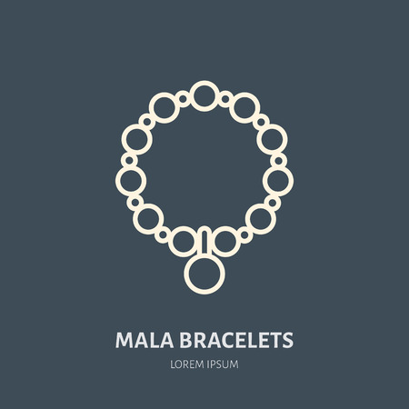 Bracelets with charms, mala illustration. Jewelry flat line icon, jewellery store logo. Jewels accessories sign.