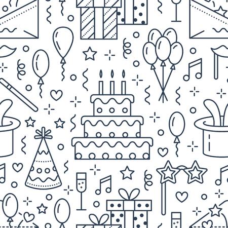 생일 파티 원활한 패턴, 플랫 라인 그림. 이벤트 대행사, 결혼식 조직 - 케이크, 풍선, 선물, 초대장, 키즈 엔터테인먼트의 벡터 아이콘. 귀여운 반복 된