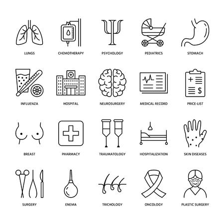 Hospital, medical flat line icons.