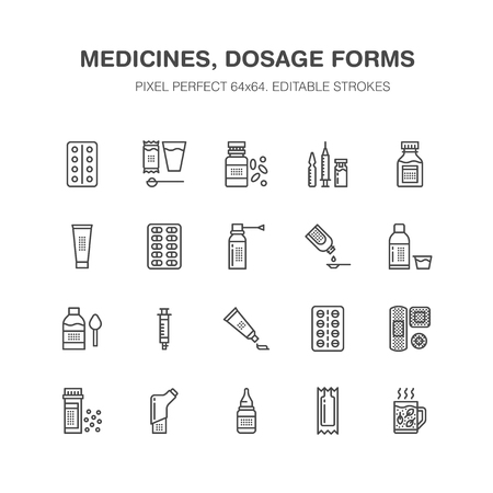 Medicines and dosage forms line icons.