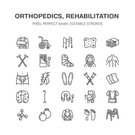 Orthopedics, trauma rehabilitation line icons. Illustration
