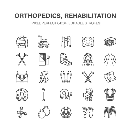 Orthopedics, trauma rehabilitation line icons. Иллюстрация