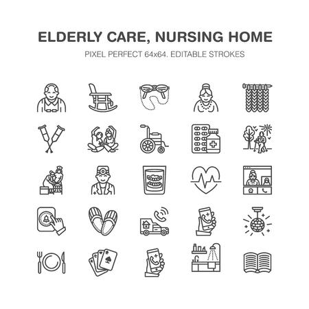 高齢者ケアベクトルフラットラインアイコン。老人ホーム要素 - 老人活動、車椅子、健康チェック、病院の呼び出しボタン、祖父、おばあちゃん、