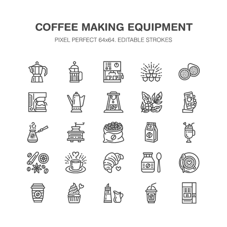Coffee making equipment flat line icons. Elements - moka pot, french press, grinder, espresso, vending, plant. Linear restaurant, shop pictogram with editable stroke. Pixel perfect 64x64.