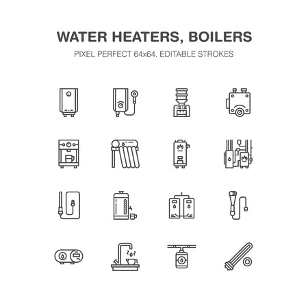 Water boiler, thermostat, electric gas solar heaters and other house heating appliances line icons. Thin linear pictogram. Equipment store signs. Pixel perfect 64x64.