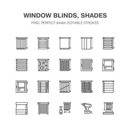 Window blinds, shades line icons. Various room darkening decoration, roller shutters, roman curtains, horizontal and vertical jalousie. Interior design signs for house decor shop. Pixel perfect 64x64. Illustration