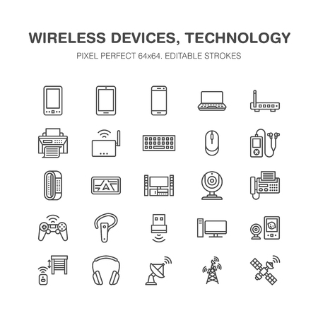 Wireless devices flat line icons. Wifi internet connection technology signs. Router, computer, smartphone, tablet, laptop, satellite. Vector linear illustration electronic store. Pixel perfect 64x64.