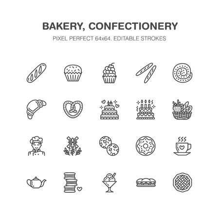 Bäckerei, flache Linie Ikonen der Süßigkeiten. Süßer Geschäftsproduktkuchen, Hörnchen, Muffin, Gebäckkleiner kuchen, Torte Dünne lineare Zeichen der Nahrung, Brothaus. Pixel perfekt 64x64.