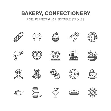 Bakery, confectionery flat line icons. Sweet shop products cake, croissant, muffin, pastry cupcake, pie Food thin linear signs, bread house. Pixel perfect 64x64. Illustration