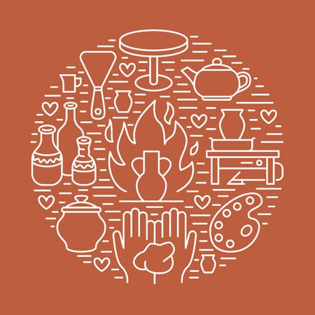 Atelier De Poterie, Illustration De Bannière De Classes De Céramique ...