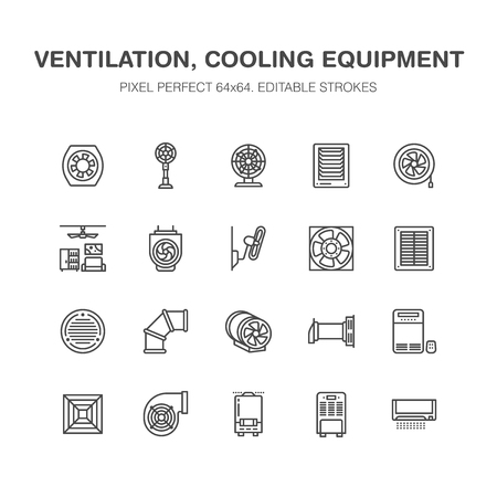 Ventilation equipment flat line icons. Air conditioning, cooling appliances, exhaust fan. Household and industrial ventilator thin linear signs for store. Pixel perfect 64x64. Stock Photo