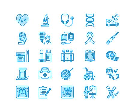 Medical check up, flat line icons. Illustration