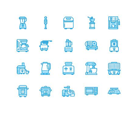 Kitchen appliances line icons.