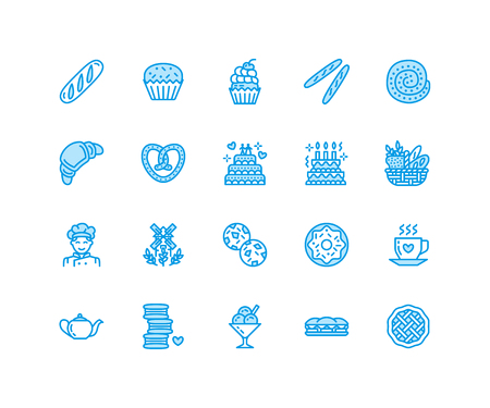 빵집, 제과 플랫 라인 아이콘. 달콤한가 게 제품 케이크, 크로 상, 머핀, 과자 컵 케 잌은 파이 음식 얇은 선형 표지판, 빵 집. 픽셀 완벽한 64x64.