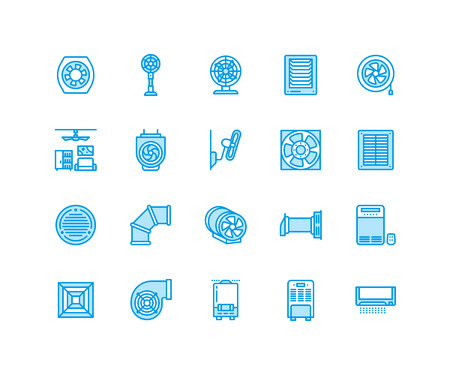 Ventilation equipment flat line icons. Air conditioning, cooling appliances, exhaust fan. Household and industrial ventilator thin linear signs for store. Pixel perfect 64x64. Illustration