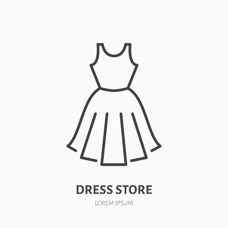 Dress store flat line icon. Women apparel, evening gown sign. Thin lines for clothing shop.