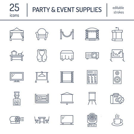 Event supplies flat line icons. Party equipment - stage constructions, visual projector, stanchion, flipchart, marquee. Thin linear signs for catering, commercial rental service. Illustration