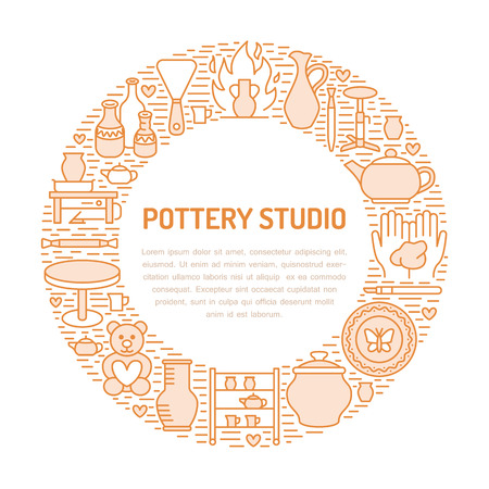 Pottery banner vector illustration  イラスト・ベクター素材