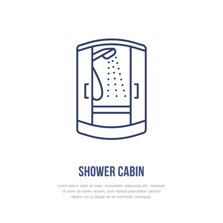 Shower cabin flat line icon.