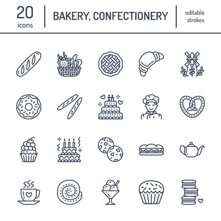 빵집, 제과 라인 아이콘. 달콤한 가게 제품 케이크, 크루아상, 머핀, 패스트리, 컵 케익, 파이 음식 얇은 선형 기호.