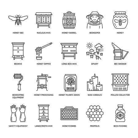 Beekeeping line icons. Beekeeper equipment, honey processing, honeybee, beehives types, natural products. Bee-garden thin linear signs for organic farm shop.