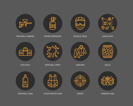 Paintball game line icons. Outdoor sport equipment, paint ball marker, uniform, mask, chest protection. Extreme leisure thin outline signs background.