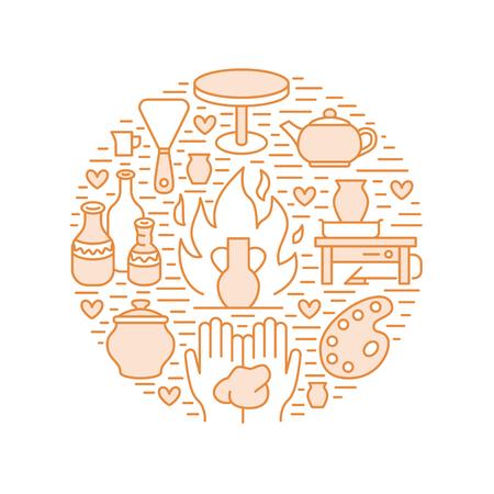 Pottery workshop, ceramics classes banner illustration. Vector line icon of clay studio tools. Hand building, sculpturing equipment. Art shop circle template. Stock Illustratie