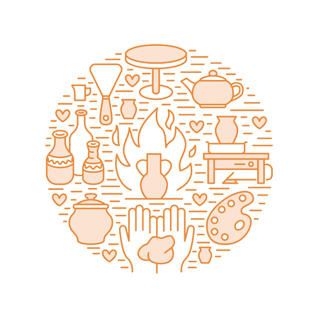 Pottery workshop, ceramics classes banner illustration. Vector line icon of clay studio tools. Hand building, sculpturing equipment. Art shop circle template. Vettoriali