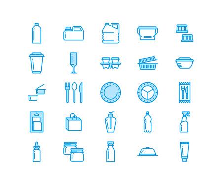 Envases de plástico, iconos de línea de vajilla desechable. Paquetes de productos, contenedor, botella, recipiente, cubertería de platos. Portacontenedores finos para tienda, producción de bienes de material sintético. Pixel perfecto 64x64.
