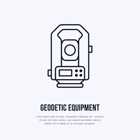 Tacheometer. Geological survey, engineering vector flat line icon. Geodetic equipment. Geology research illustration, sign
