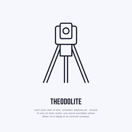 Theodolite on tripod. Geological survey, engineering vector flat line icon. Geodetic equipment. Geology research illustration, sign.