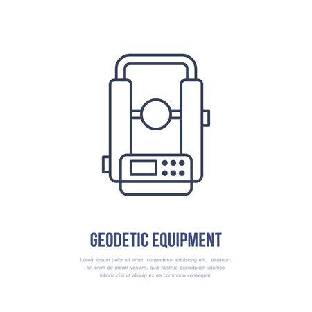 Theodolite Geological survey, engineering vector flat line icon. Geodetic equipment. Geology research illustration, sign.  イラスト・ベクター素材