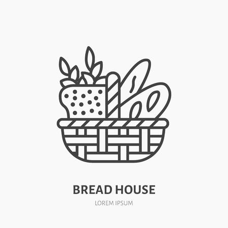 한 덩어리, 버 게 트 빵 및 밀의 귀를 가진 빵 바구니. 제과점 로고, 납작한 아이콘. 신선한 구운 제품 레이블, 베이커 집 기호.