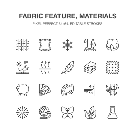 Fabric feature, clothes material vector flat line icons. Garment property symbols. Cotton wool, waterproof, wind resistant, uv protection. Wear label, textile industry pictogram. Pixel perfect 64x64.