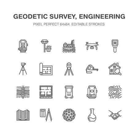 Geodetic survey engineering vector flat line icons. Geodesy equipment, tacheometer, theodolite, tripod. Geological research, building measurements. Construction service signs. Pixel perfect 64x64. Stock Illustratie