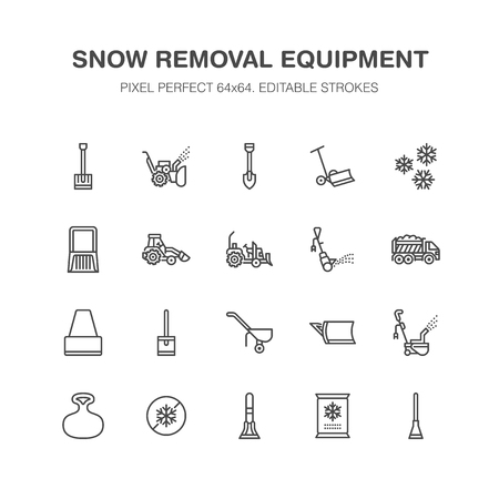 Snow removal flat line icons. Ice relocation service signs. Cold weather equipment - small tractor, truck, front loader, shovel. Vector illustration, industrial cleaning symbols. Pixel perfect 64x64.