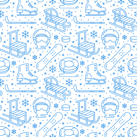 Winter sports blue seamless pattern, equipment rental at ski resort. Vector flat line icons - skates, hockey, helmet, sleds, snowboard, snow tubing. Cold season outdoor activities, snowflakes.