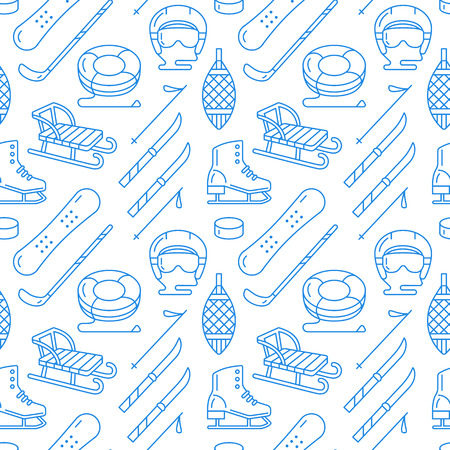 Winter sports blue seamless pattern, equipment rental at ski resort. Vector flat line icons - skates, hockey sticks, sleds, snowboard, snow tubing. Cold season outdoor activities.