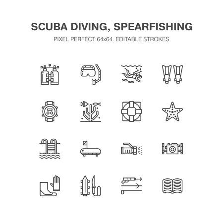 Scuba diving, snorkeling line icons. Spearfishing equipment - mask tube, flippers, swim suit, diver. Water sport, summer activity thin linear signs. Pixel perfect 64x64. Illustration