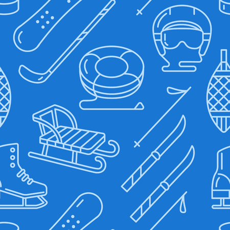 Winter sports dark blue seamless pattern, equipment rental at ski resort. Vector flat line icons - skates, hockey sticks, sleds, snowboard, snow tubing. Cold season outdoor activities.