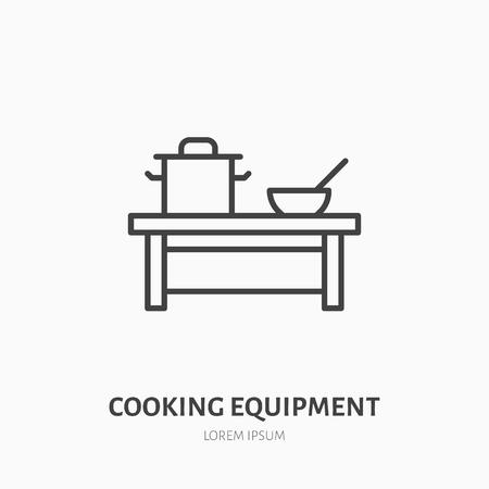 Platte lijn pictogram koken apparatuur. Lijst met pan en schotel, vaatwerkteken. Dun lineair logo voor cateringservice.