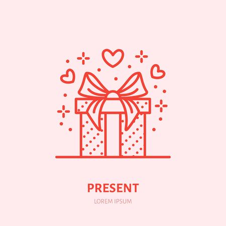 Gift in box illustration. Flat line icon, souvenir shop logo. Valentines day present sign. Illustration