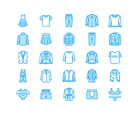 Clothing, fasion flat line icons. Mens, womens apparel - dress, down jacket, jeans, underwear, sweatshirt.