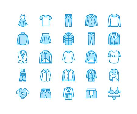 Clothing, fasion flat line icons. Mens, womens apparel - dress, down jacket, jeans, underwear, sweatshirt.