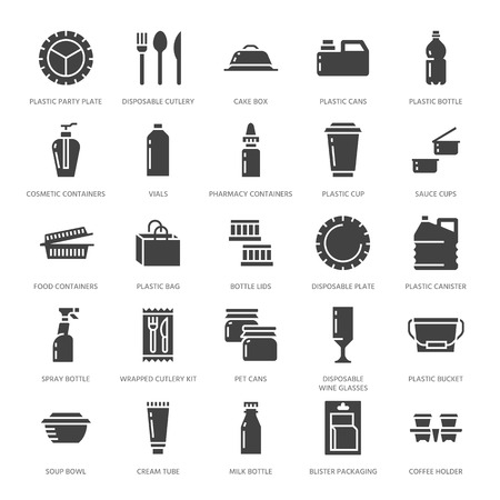 Plastic packaging, disposable tableware vector glyph icons. Product container silhouette, bottle, packet, canister, plate and cutlery.